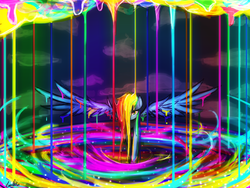 Size: 1024x768 | Tagged: safe, artist:lumineko, rainbow dash, color porn, female, mess, paint, paint in hair, paint on feathers, paint on fur, psychedelic, solo, spread wings