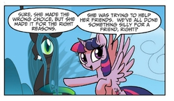 Size: 714x418   Tagged: safe, edit, queen chrysalis, twilight sparkle, alicorn, changeling, changeling queen, pony, idw, spoiler:comic, spoiler:comic23, female, hilarious in hindsight, mare, meme, twilight justifies evil meme, twilight sparkle (alicorn)
