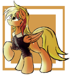 Size: 1544x1676 | Tagged: safe, artist:ruhisu, oc, oc only, oc:brave wing, pegasus, pony, clothes, handsome, jacket, looking up, male, pilot, raised hoof, stallion, standing