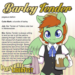 Size: 1000x1000 | Tagged: artist needed, safe, oc, oc only, oc:barley tender, semi-anthro, cider, clothes, convention, ponyville ciderfest