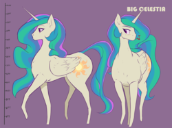 Size: 1667x1250 | Tagged: artist:nivrozs, biglestia, blushing, giant pony, looking at you, macro, missing accessory, music notes, pony, praise the sun, princess celestia, raised hoof, raised leg, safe, size chart, solo, tallestia, whistling