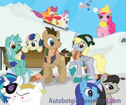 Size: 900x752   Tagged: safe, artist:ghostlymuse, apple bloom, bon bon, bulk biceps, derpy hooves, dj pon-3, doctor whooves, lyra heartstrings, minuette, octavia melody, pinkie pie, rainbow dash, scootaloo, sweetie belle, sweetie drops, time turner, vinyl scratch, pegasus, pony, bench, boots, clothes, cloud, cloudy, cup, cutie mark crusaders, female, hat, mare, mittens, scarf, shared clothing, shared scarf, sitting, sitting lyra, sled, sledding, snow, snowball, winter