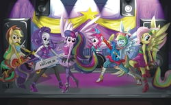 Size: 2480x1515 | Tagged: safe, artist:s4vin, applejack, fluttershy, pinkie pie, rainbow dash, rarity, twilight sparkle, alicorn, equestria girls, rainbow rocks, humane five, ponied up, the rainbooms, twilight sparkle (alicorn)