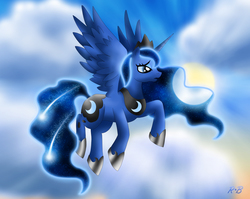 Size: 1879x1496   Tagged: safe, artist:rose-beuty, princess luna, female, flying, meteor, moon, solo, sun, surreal