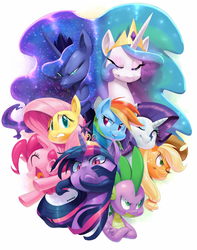 Size: 986x1254 | Tagged: dead source, safe, artist:sunibee, applejack, fluttershy, pinkie pie, princess celestia, princess luna, rainbow dash, rarity, spike, twilight sparkle, alicorn, dragon, earth pony, pegasus, pony, unicorn, action poster, big crown thingy, cowboy hat, crown, cute, derail in the comments, epic, eyeshadow, featured image, female, frown, glare, hat, makeup, mane seven, mane six, mare, nervous, open mouth, poster, premiere pro, smiling, stare, stetson
