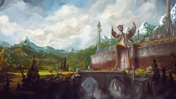 Size: 1920x1080 | Tagged: safe, artist:assasinmonkey, alicorn, earth pony, pegasus, pony, first contact war, bridge, cart, city, cliff, cloud, cloudy, gates, mountain, portcullis, river, scenery, scenery porn, statue, tower, tree, wall, wallpaper, waterfall