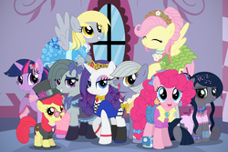 Size: 1737x1159 | Tagged: safe, artist:reitanna-seishin, apple bloom, derpy hooves, fluttershy, limestone pie, marble pie, pinkie pie, rarity, twilight sparkle, oc, oc:minkie pie, pegasus, pony, blushing, clothes, dress, female, mare