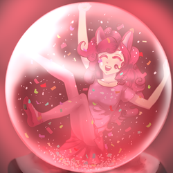 Size: 1000x1000 | Tagged: safe, artist:aruva-chan, pinkie pie, human, friendship is witchcraft, clothes, crystal ball, eared humanization, female, gypsy pie, humanized, romani, solo
