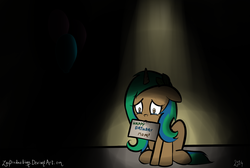 Size: 1524x1024 | Tagged: safe, artist:zacproductions, oc, oc only, oc:glimmering springs, balloon, dark, depressing, happy birthday, mother, sad