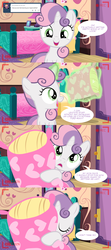Size: 1280x2880   Tagged: dead source, safe, artist:jan, sweetie belle, ask the crusaders, ask, bed, cute, diasweetes, female, levitation, magic, pillow, solo, sweetie belle's magic brings a great big smile, tumblr