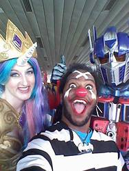 Size: 480x640 | Tagged: buggy the clown, convention, cosplay, crossover, hasbro, human, irl, irl human, one piece, optimus prime, photo, princess celestia, safe, selfie, transformers