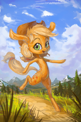 Size: 600x900 | Tagged: applejack, artist:assasinmonkey, bipedal, happy, long ears, pony, running, safe, solo, what has science done