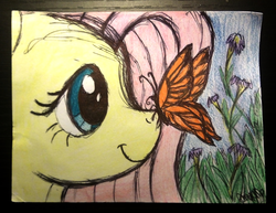 Size: 1306x1008 | Tagged: artist:thefriendlyelephant, butterfly, butterfly on nose, flower, fluttershy, insect, insect on nose, pegasus, pony, profile, safe, smiling, solo, traditional art