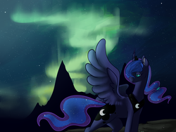 Size: 1500x1125 | Tagged: artist:kittyisawolf, night, princess luna, safe, solo