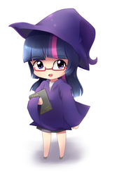 Size: 800x1200 | Tagged: artist:sion-ara, book, chibi, clothes, glasses, hat, human, humanized, safe, solo, twilight sparkle, witch, witch hat