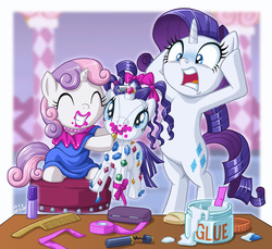 Size: 1000x914 | Tagged: safe, artist:uotapo, rarity, sweetie belle, pony, unicorn, 5-year-old, 5-year-old sweetie belle, bow, build-a-bear, clothes, cute, diasweetes, dress, eyes closed, female, filly, gem, glue, hair bow, horrified, lipstick, mare, open mouth, plushie, raribetes, rarity plushie, sisters, smiling, uotapo is trying to murder us, uotapo will kill us all, younger
