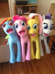 Size: 600x800 | Tagged: artist needed, safe, fluttershy, pinkie pie, rainbow dash, rarity, cat, box, bronies: the musical, cursed image, faic, i can see forever, irl, jesus christ how horrifying, my god its full of stars, nightmare fuel, only the dead can know peace from this evil, photo, plushie, puppet, the muppets, wat