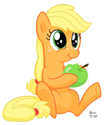 Size: 7200x8700 | Tagged: safe, artist:twiddlechimp, applejack, :t, absurd resolution, apple, cute, eating, female, filly, hatless, hoof hold, jackabetes, missing accessory, nom, obligatory apple, puffy cheeks, simple background, sitting, smiling, solo, that pony sure does love apples, transparent background, underhoof, vector
