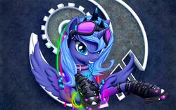 Size: 3520x2200 | Tagged: safe, artist:xn-d, princess luna, alicorn, pony, boots, collar, crown, cute, cyberpunk, female, glowstick, goggles, lunabetes, mare, rave, s1 luna, smiling, solo