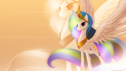 Size: 1920x1080   Tagged: safe, artist:mithandir730, artist:nemesis360, princess celestia, alicorn, pony, dem wings, female, lidded eyes, looking at you, pretty, smiling, solo, spread wings, vector, wallpaper, wings
