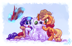 Size: 1280x829   Tagged: safe, artist:whitediamonds, applejack, rarity, earth pony, pony, unicorn, angry, argument, blushing, cape, carrot, clothes, duo, female, freckles, gem, hat, lesbian, looking at each other, magic, mare, open mouth, rarijack, rarijack daily, scarf, shipping, snow, snowman, snowpony, telekinesis, winter