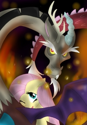 Size: 748x1069 | Tagged: safe, artist:fluffygerbil, discord, fluttershy, discoshy, female, male, shipping, straight