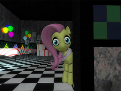Size: 568x427 | Tagged: safe, fluttershy, robot, five nights at aj's, animatronic, applefreddy fazjack's pizzeria, creepy, five nights at aj's 2, flutterchica, looking at you, solo