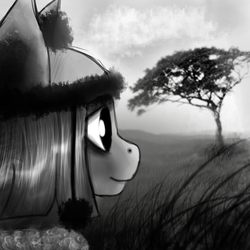 Size: 2000x2000 | Tagged: safe, artist:kaine, marble pie, black and white, grayscale, monochrome, smiling, solo