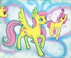 Size: 1024x832 | Tagged: safe, artist:tielgar, fluttershy, posey, rosedust, sky skimmer, earth pony, flutter pony, pegasus, pony, g1, g2, female, g1 to g4, g2 to g4, generation leap, queen rosedust