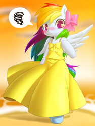 Size: 750x1000   Tagged: safe, artist:hashioaryut, rainbow dash, pegasus, semi-anthro, bipedal, blushing, bow, clothes, cute, dashabetes, dress, embarrassed, female, mare, pictogram, pixiv, rainbow dash always dresses in style, solo, speech bubble, spread wings, tsunderainbow, tsundere, wings