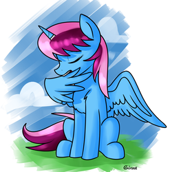 Size: 1975x2000 | Tagged: safe, artist:gicme, oc, oc only, oc:parcly taxel, alicorn, pony, alicorn oc, chest fluff, horn ring, preening, solo