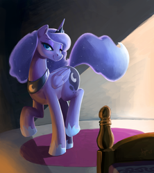 Size: 1137x1280 | Tagged: safe, artist:ajin, princess luna, alicorn, pony, bed, bedroom eyes, blushing, cute, female, looking at you, mare, raised hoof, raised leg, smiling, solo