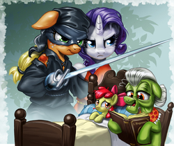 Size: 2000x1687   Tagged: safe, artist:harwick, apple bloom, applejack, granny smith, rarity, earth pony, pony, unicorn, adventure, bed, bedtime story, bipedal, clothes, costume, crossover, female, filly, floppy ears, lesbian, mare, mask, movie reference, parody, rapier, rarijack, rarijack daily, s. morgenstern, shipping, sword, the dread pirate roberts, the princess bride, weapon
