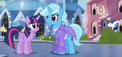 Size: 2232x1046 | Tagged: safe, artist:asika-aida, shining armor, trixie, twilight sparkle, bush, clothes, coat, female, half r63 shipping, male, rule 63, shipping, straight, tristan, tristansparkle, twilight sparkle (alicorn), twixie
