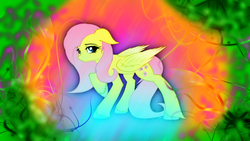 Size: 1920x1080 | Tagged: artist:sgtwaflez, artist:strachattack, edit, female, fluttershy, mare, pegasus, pony, psychedelic, safe, solo, wallpaper, wallpaper edit