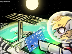Size: 960x720   Tagged: safe, artist:lumineko, derpy hooves, pegasus, pony, 30 minute art challenge, :t, astronaut, circuit board, earth, eating, female, helmet, international space station, mare, moon, muffin, nasa, pcb, solo, space, space station, spacesuit, spacex
