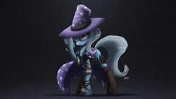 Size: 2371x1334 | Tagged: safe, artist:ncmares, trixie, pony, unicorn, boots, cape, clothes, dirty, fanfic art, female, glare, hat, knife, looking at you, mare, necklace, night shift, smirk, solo, trixie's cape, trixie's hat, weapon