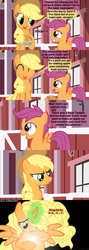 Size: 1120x3150 | Tagged: safe, artist:beavernator, applejack, scootaloo, alicorn, pony, alicornified, and that's how equestria was made, applecorn, carl sagan, challenge accepted, comic, creation, goddess, pie, race swap