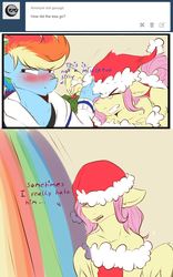 Size: 1200x1924 | Tagged: dead source, safe, artist:rainbowscreen, fluttershy, rainbow dash, anthro, ask the gaylord, ask, blushing, butterblitz, butterscotch, comic, flutterdash, gay, hat, holly, holly mistaken for mistletoe, male, rainbow blitz, rule 63, santa hat, shipping, shipping denied, subverted holly mistaken for mistletoe