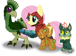 Size: 3561x2606 | Tagged: dead source, safe, artist:farminilla, fluttershy, alien, crossover, dachora, etecoon, high res, metroid, nintendo, samus aran, simple background, transparent background
