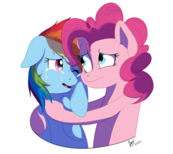 Size: 900x800 | Tagged: artist:emcrasher, comforting, crying, hug, pinkie pie, rainbow dash, safe, simple background, transparent background