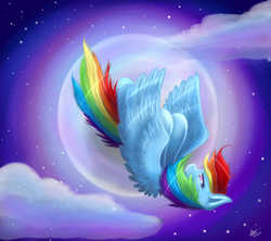 Size: 1800x1600 | Tagged: artist:emcrasher, falling, moon, rainbow dash, safe, solo