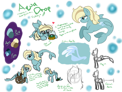 Size: 1262x951 | Tagged: artist:kudalyn, ask, hippocampus, merpony, oc, oc:aqua drop, oc only, questionthekudas, safe, solo, tumblr