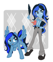 Size: 800x922 | Tagged: safe, artist:rileyav, oc, oc only, oc:stormquill, pegasus, pony, equestria girls, argyle, book, clothes, equestria girls-ified, quill, simple background, solo, transparent background