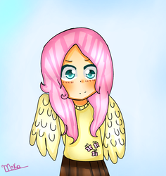 Size: 1319x1396   Tagged: safe, artist:mika-chan404, fluttershy, human, clothes, humanized, solo, sweater, sweatershy, winged humanization