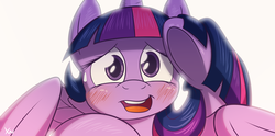 Size: 5230x2600 | Tagged: safe, artist:fluffyxai, twilight sparkle, alicorn, pony, adorkable, blushing, cute, dork, female, looking at you, mare, simple background, solo, sweatdrop, twiabetes, twilight sparkle (alicorn), underhoof