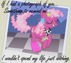 Size: 650x575   Tagged: safe, edit, edited screencap, screencap, cheerilee, call of the cutie, 80s, 80s cheerilee, a flock of seagulls, bracelet, braces, caption, eyes closed, leg warmers, smiling, solo, song reference, wishing