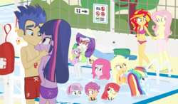 Size: 1500x875 | Tagged: safe, artist:dm29, apple bloom, applejack, flash sentry, fluttershy, pinkie pie, rainbow dash, rarity, scootaloo, spike, sunset shimmer, sweetie belle, twilight sparkle, dog, equestria girls, bare chest, beach ball, belly button, bikini, breasts, buttcrack, cleavage, clothes, cutie mark crusaders, feet, female, flashlight, floaty, ice cream cone, inflatable, lifeguard, male, mane seven, mane six, sandals, sarong, shipping, sparity, spike the dog, straight, sunglasses, sunshyne, surprised, swim trunks, swimming pool, swimsuit, topless, twilight sparkle (alicorn), water wings, whistle