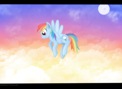 Size: 1280x932 | Tagged: safe, artist:comickit, rainbow dash, cloud, cloudy, flying, moon, solo
