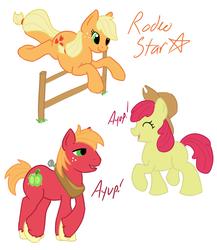 Size: 1280x1473 | Tagged: safe, artist:shamrock, apple bloom, applejack, big macintosh, earth pony, pony, male, stallion
